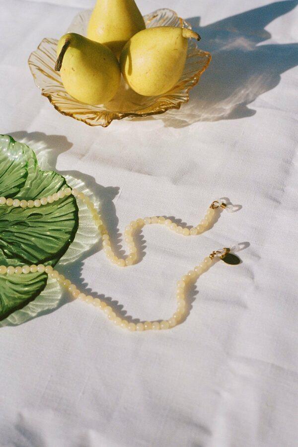 chalcedony jade beads in pastel yellow